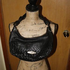 Elliot Lucca Woven Black Leather Purse